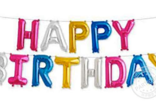 Bannière de ballons  HAPPY BIRTHDAY 40 cm multicolore mylar suspension anniver