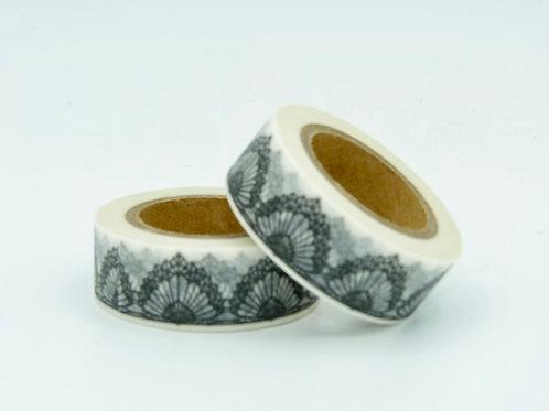 W202 - Masking Tape Blanc motif dentelle noire