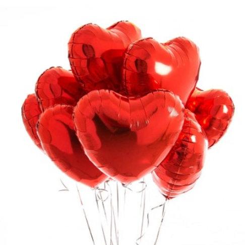 Ballon aluminium  mylar coeur rouge - remplissage hélium
