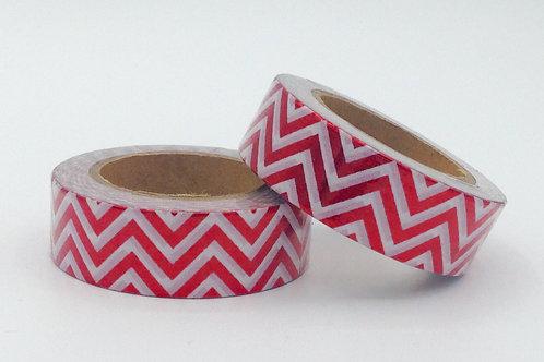 F040 - Masking tape foil blanc zig zag rouge
