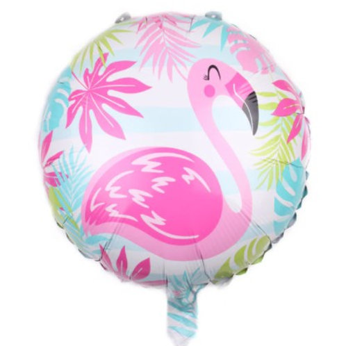 Ballon aluminium rond  Flamant rose jungle 45cm