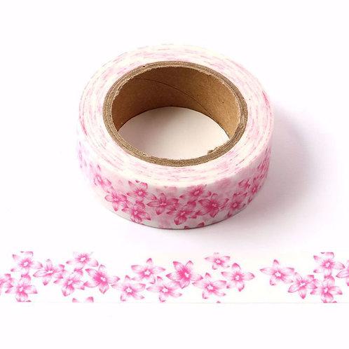 Masking tape fleurs roses  15mm x 10m