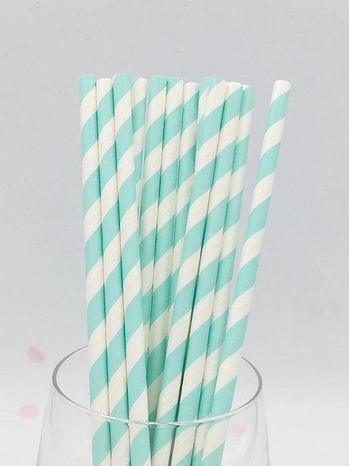 25 pailles papier rayure bleu clair