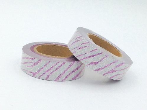 G017 - Paillettes argent motif rose glitter