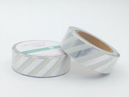 F028 - Masking tape foil blanc rayures argentées