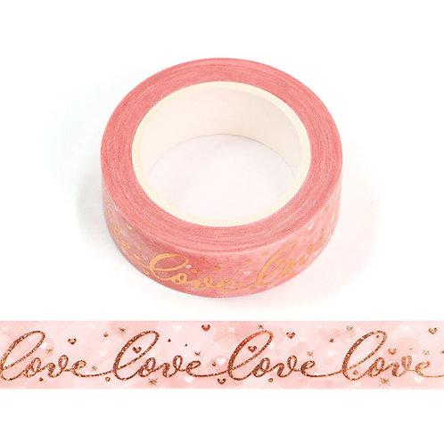 Masking tape métallique rose aquarelle coeur love rose gold 15mm x 10m