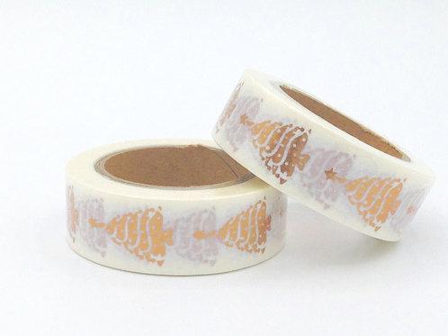 F083- Masking tape foil blanc sapin cuivré