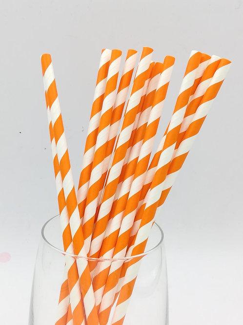 25 pailles papier rayures orange