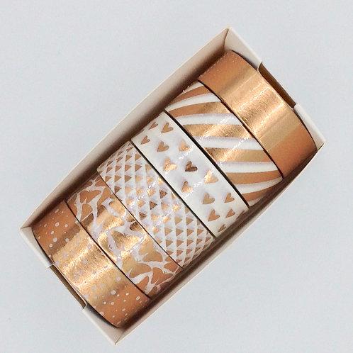 Lot de 6 Masking tapes métalliques cuivre