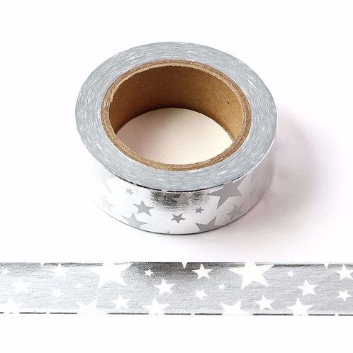 Masking tape foil argent étoiles blanches métalliques 15mm x 10m