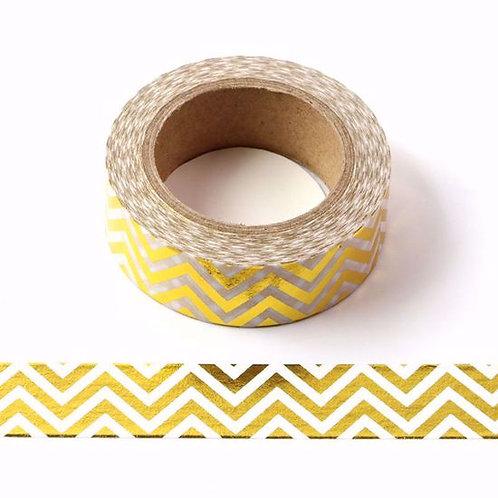 F012 - Masking tape métallique 15mm zig zag doré