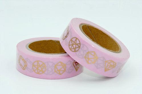F097- Masking tape foil Rose diamand doré I Gold diamond pink washi tape