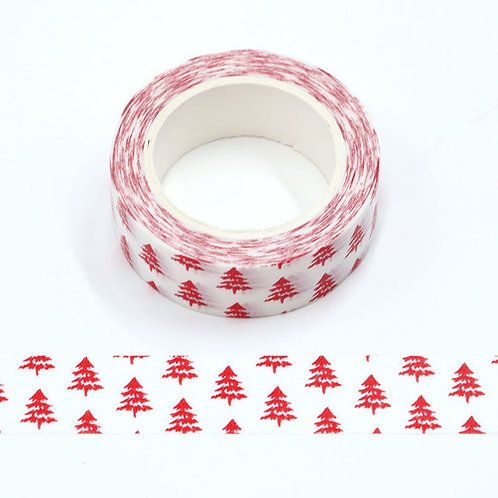 W528 - Masking tape blanc sapins rouges
