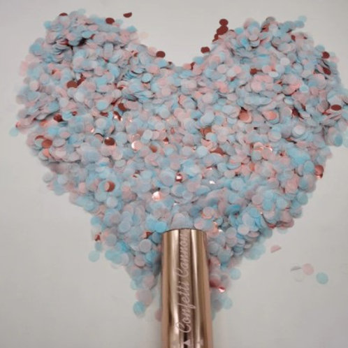 Canon à confettis bleus