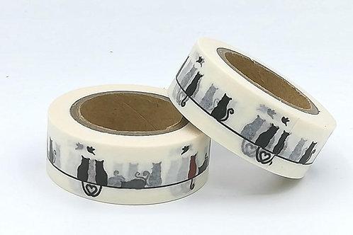 W337 -  Masking tape chats cats washi tape