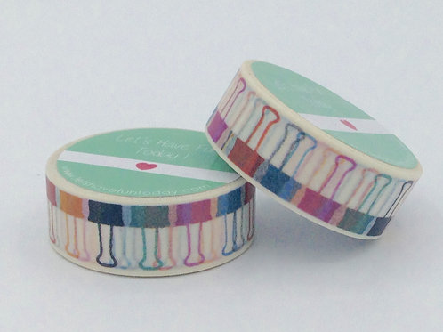 W238-  Masking tape clips colorés fun  enfant girly design 15mm