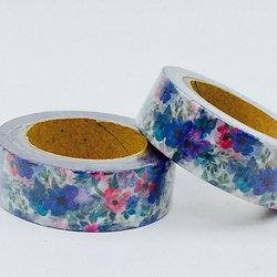 W335-  Masking tape motif floral bleu design  15mm