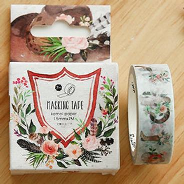 W321 - Masking tape couronne de fleurs + boîte