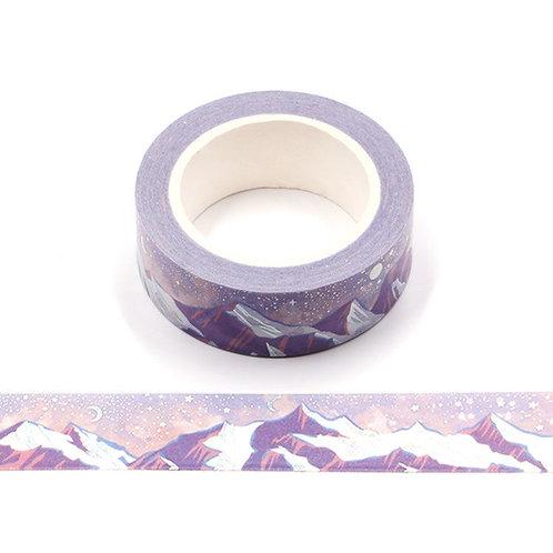Masking tape métallique  montagnes violet neige 15mm x 10m