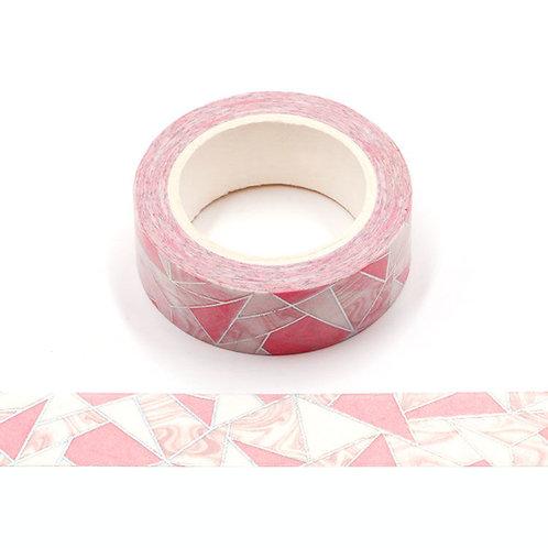 Masking tape métallique formes géométriques roses et holographiques