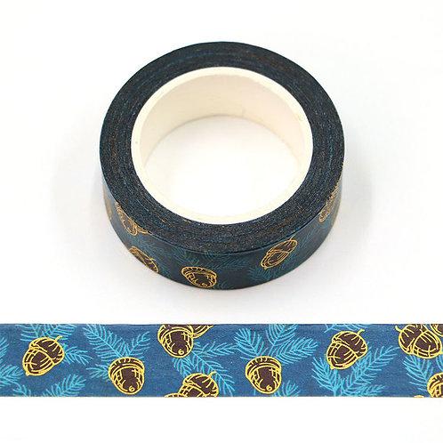 Masking tape  métallique 15 mm motif pomme de pin