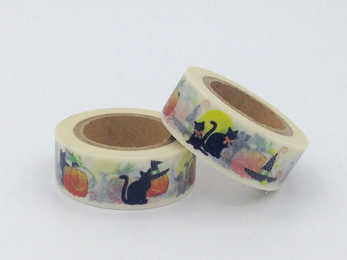 Masking tape chat citrouille halloween 15mm x 10m