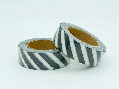 Masking tape blanc rayures noires blancs  design  15mm x 10m