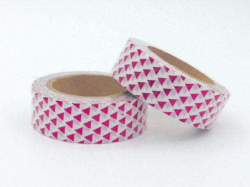 F037 - Masking tape foil blanc triangles rouges