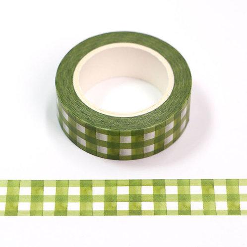 W545 - Masking tape 15 mm motif quadrillage aquarelle vert