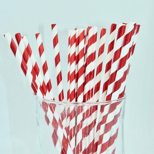 25 pailles papier blanc rayures rouge métallique