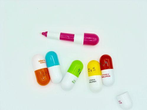Stylo vitamine -  couleur rose/bleu/vert/rouge ou jaune- encre noir