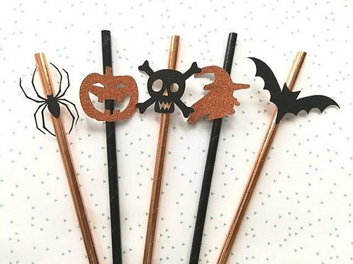 Pailles Halloween : sorcière araignée tête de mort citrouille chauve souris
