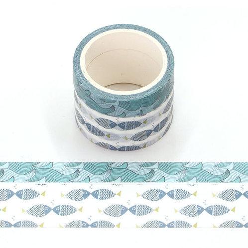 Packde 2 masking tape parfumés - Odeur Océan - dessin poisson et vagues P009