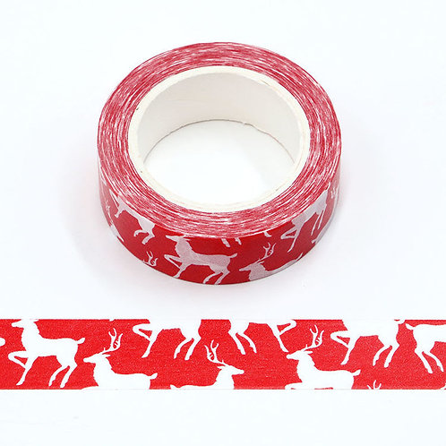 Masking tape  rouge rêne blanc Noël 10m W527