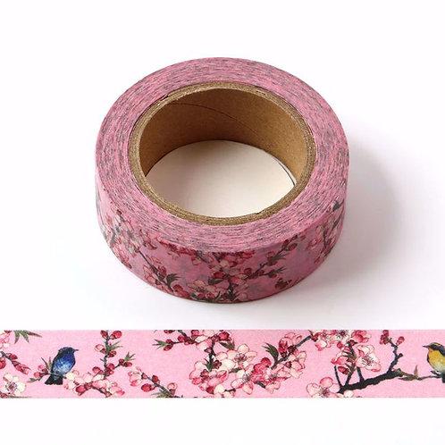 Masking tape rose colibri dans cerisier blanc  10m W528