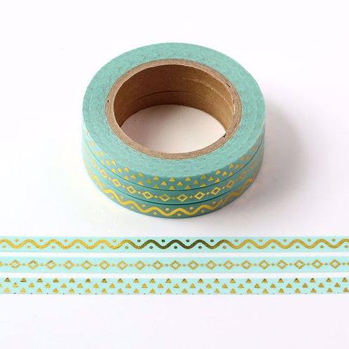 F114-  3 Masking tape foil bert pâle fin 5mmx10m flèche Thin pastel green washi