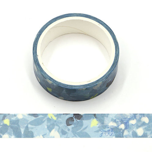 W498 - Masking tape 5m fleurs aquarelle bleu vert