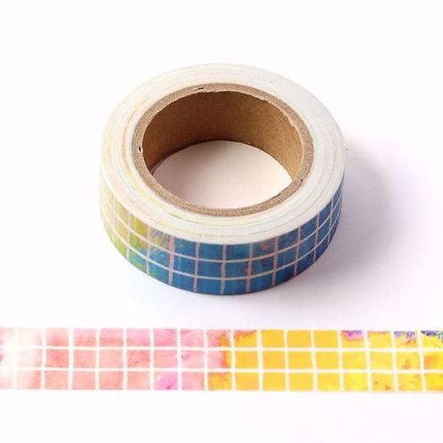 W424 - Masking tape carrés multicolores