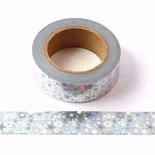 Masking tape foil holographique argent étoiles 15mm x 10m