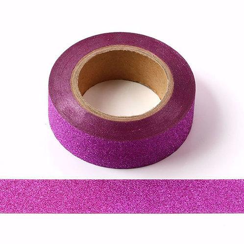 G019 - Masknig tape 15mm paillettes rose fuschia