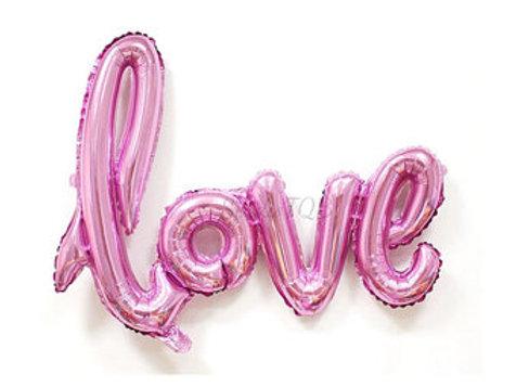 Ballon mylar love taille 108 x 63 cm rose