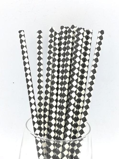 25 pailles papier blanc harlequins noirs
