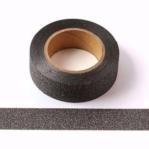 G026 - Masking tape 15 mm paillettes noir glitter