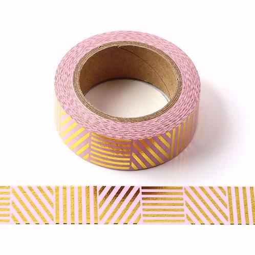 F118-  Masking tape foil rose or I Gold and pink foil was