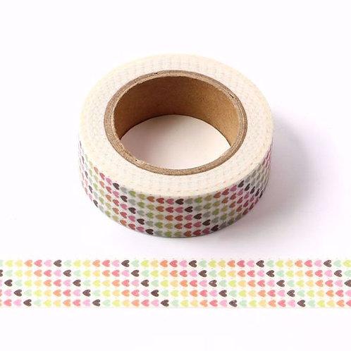 Masking tape coeurs multicolores 15mm x 10m