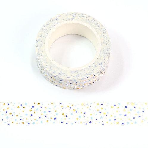 Masking tape Foil petites étoiles dorées et bleues 15mm x 10m