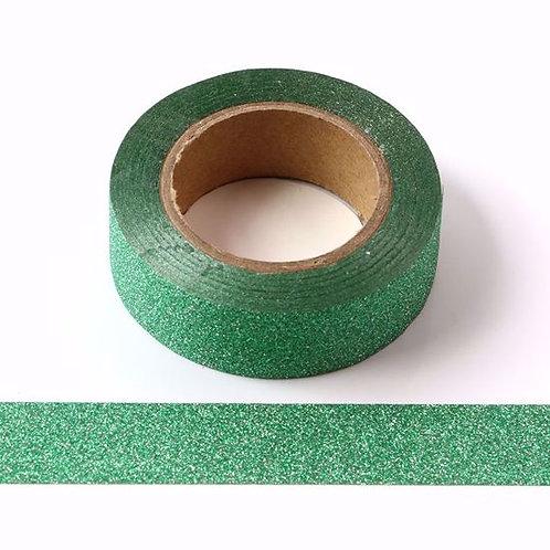 G029 - Masking tape 15mm paillettes vert glitter