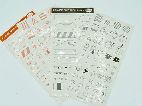 STI03 - 4 Planches de stickers kawaii bannières fun planner