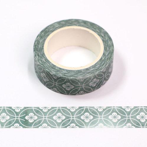 Masking tape fleurs rattan japonaise vertes 15mm x 10m