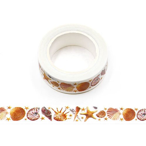 W554 - Masking tape 15 mm motif coquillages